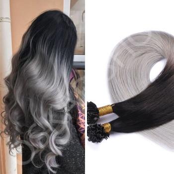 Extensii cheratina DeLuxe Ombre #1b Grey