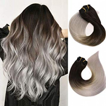 Clip On Premium Drept Black Collection Ombre #1B Silver
