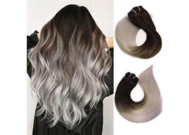 Clip On DeLuxe Drept Black Collection Ombre #1B Silver