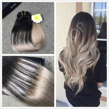 Extensii White Platinum Balayage #1B Light Grey