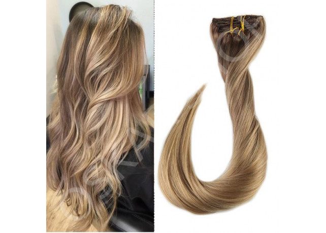 Clip On DeLuxe Drept Black Collection Balayage #7 #18L