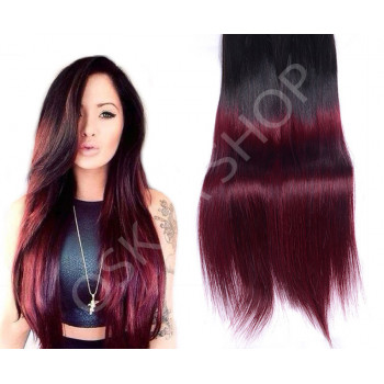 Clip On Premium Drept Black Collection Ombre #1B Burgundy