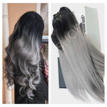 Extensii Clip-On DeLuxe Ombre #1B Grey