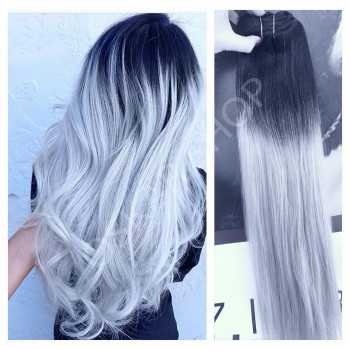 Clip On DeLuxe Ondulat Black Collection Ombre #1B Silver