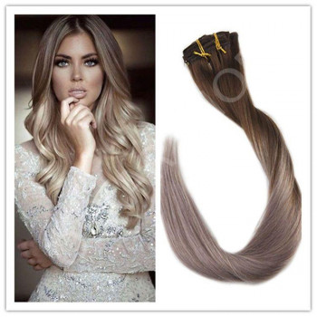 Clip On DeLuxe Ondulat Black Collection Ombre #7 Light Grey