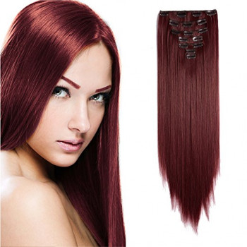 Clip-On Drept Sintetic Wine Red