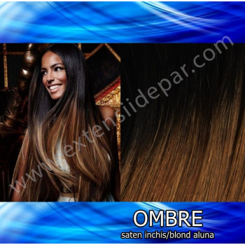 Extensii Front Lace (Semiperuca) DeLuxe Ombre Saten Inchis / Blond Aluna