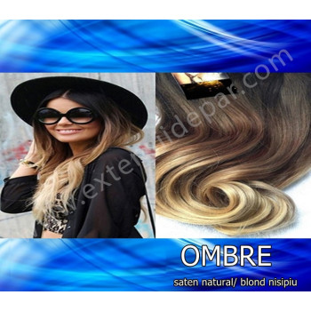 Extensii Front Lace (Semiperuca) DeLuxe Ombre Saten Natural / Blond Nisipiu