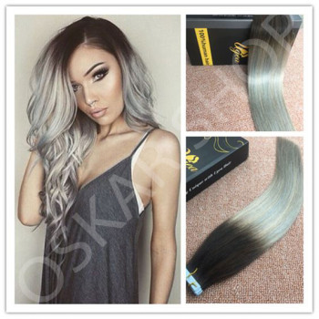Extensii Tape In DeLuxe Ombre 1B Grey