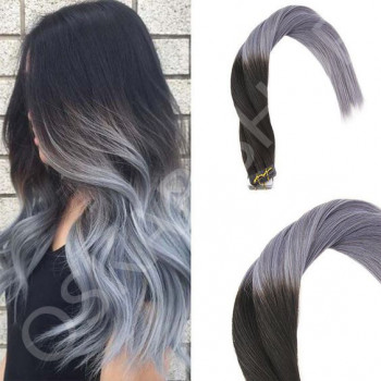 Tape In Black Collection Ombre 1b Metallic Grey
